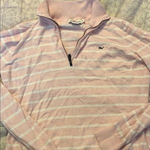 Pink striped vineyard vines quarter zip